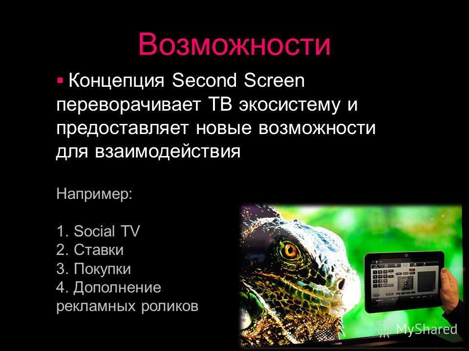 Возможности Концепция Second Screen переворачивает ТВ экосистему и предоставляет новые возможности для взаимодействия Например: 1.Social TV 2.Ставки 3.Покупки 4.Дополнение рекламных роликов