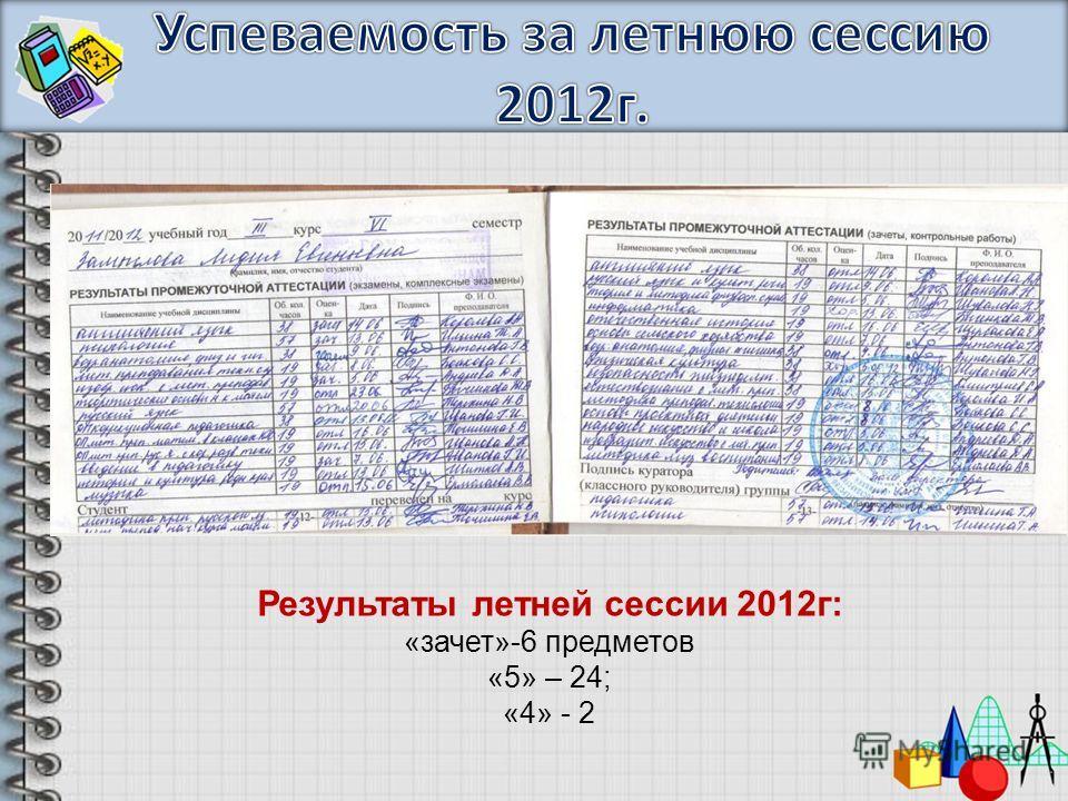 Результаты летней сессии 2012г: «зачет»-6 предметов «5» – 24; «4» - 2
