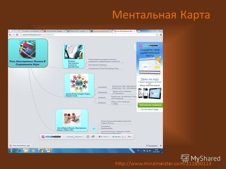 Ментальная Карта http://www.mindmeister.com/211650113