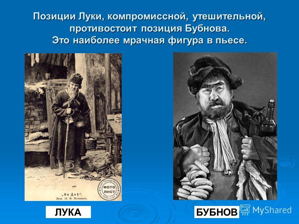 Позиции Луки, компромиссной, утешительной, противостоит позиция Бубнова. Это наиболее мрачная фигура в пьесе. БУБНОВЛУКА