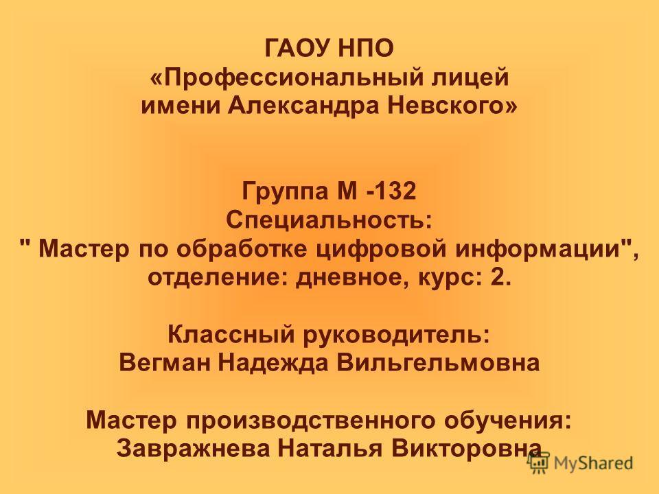 ГАОУ НПО «Профессиональный лицей имени Александра Невского» Группа М -132 Специальность: