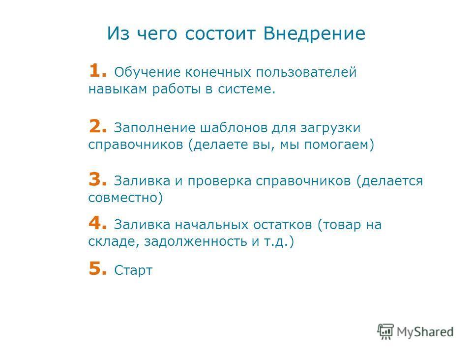 Из чего состоит Внедрение 1. Обучение конечных пользователей навыкам работы в системе. 2. Заполнение шаблонов для загрузки справочников (делаете вы, мы помогаем) 3. Заливка и проверка справочников (делается совместно) 4. Заливка начальных остатков (т