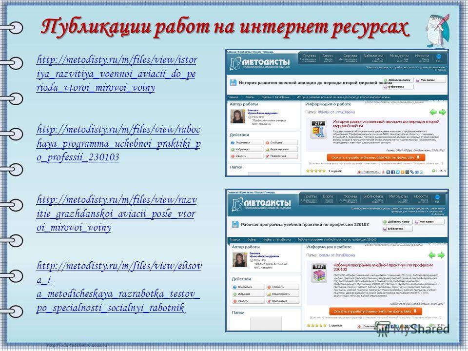 http://metodisty.ru/m/files/view/raboc haya_programma_uchebnoi_praktiki_p o_professii_230103 http://metodisty.ru/m/files/view/istor iya_razvitiya_voennoi_aviacii_do_pe rioda_vtoroi_mirovoi_voiny Публикации работ на интернет ресурсах http://metodisty.