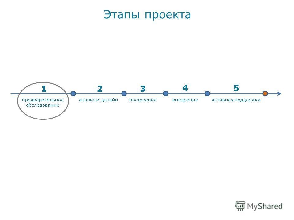 Этапы проекта активная поддержкаанализ и дизайнпостроениевнедрение стоимость проекта предварительное обследование 123 45