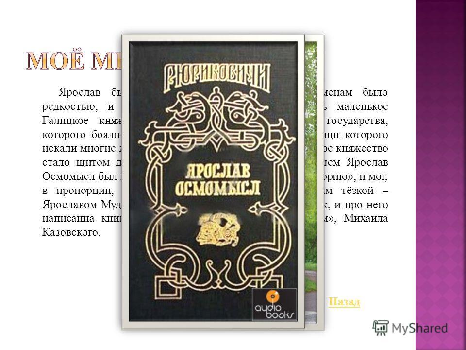 Ярослав был образованным, что по тем временам было редкостью, и добрым князем. Он смог возвысить маленькое Галицкое княжество до уровня самого мощного государства, которого боялись все без исключения соседи, и помощи которого искали многие другие кня