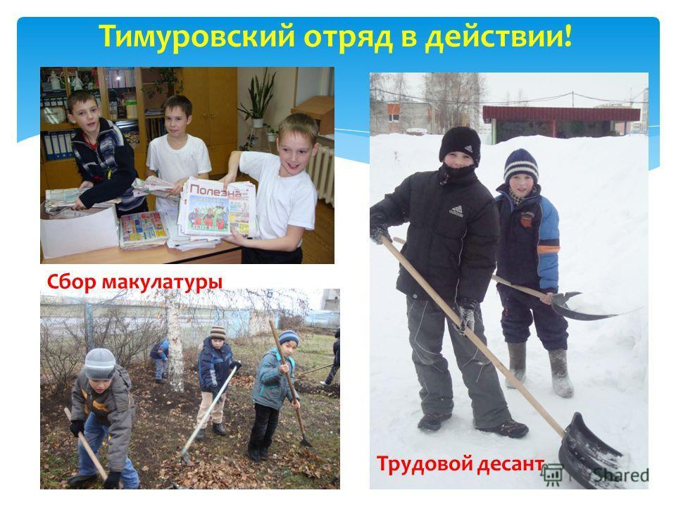 Тимуровский отряд в действии! Трудовой десант Сбор макулатуры