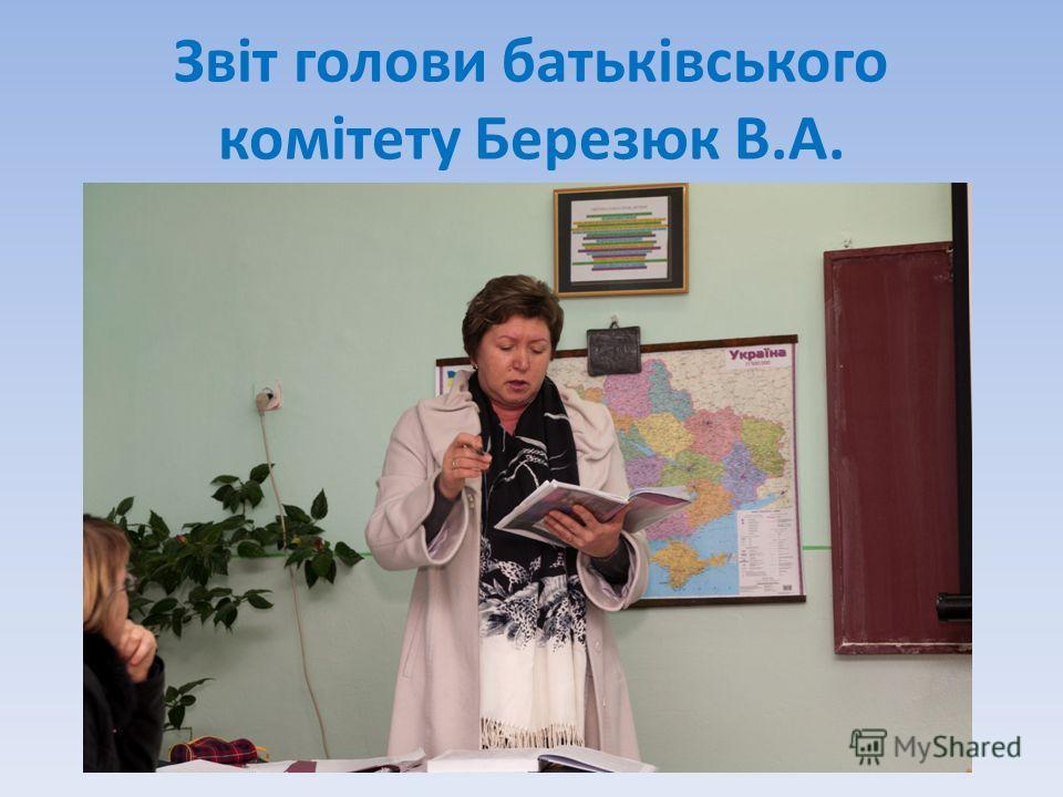 Звіт голови батьківського комітету Березюк В.А.