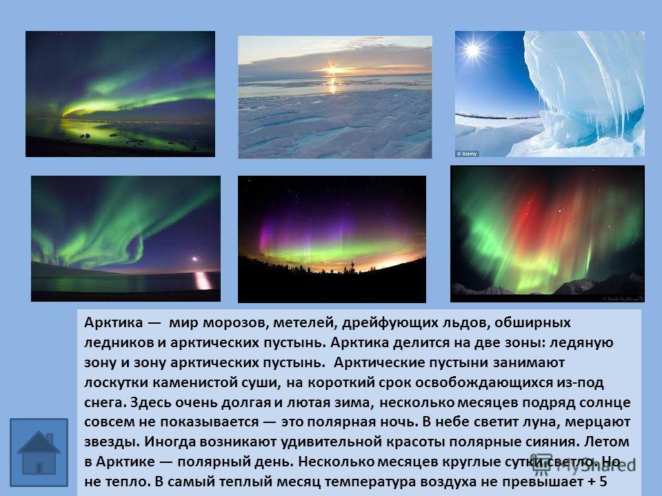 Арктика мир морозов, метелей, дрейфующих льдов, обширных ледников и арктических пустынь. Арктика делится на две зоны: ледяную зону и зону арктических пустынь. Арктические пустыни занимают лоскутки каменистой суши, на короткий срок освобождающихся из-
