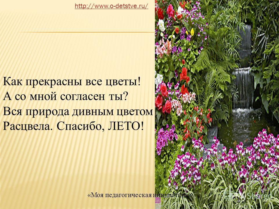 Как прекрасны все цветы! А со мной согласен ты? Вся природа дивным цветом Расцвела. Спасибо, ЛЕТО! http://www.o-detstve.ru/ «Моя педагогическая инициатива»