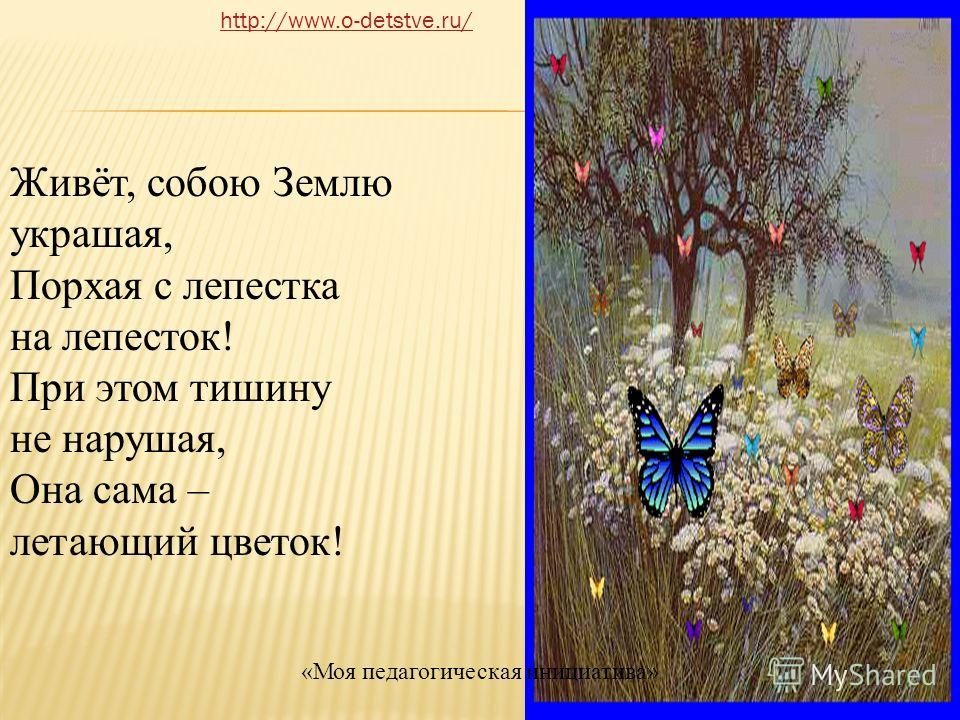 Живёт, собою Землю украшая, Порхая с лепестка на лепесток! При этом тишину не нарушая, Она сама – летающий цветок! http://www.o-detstve.ru/ «Моя педагогическая инициатива»