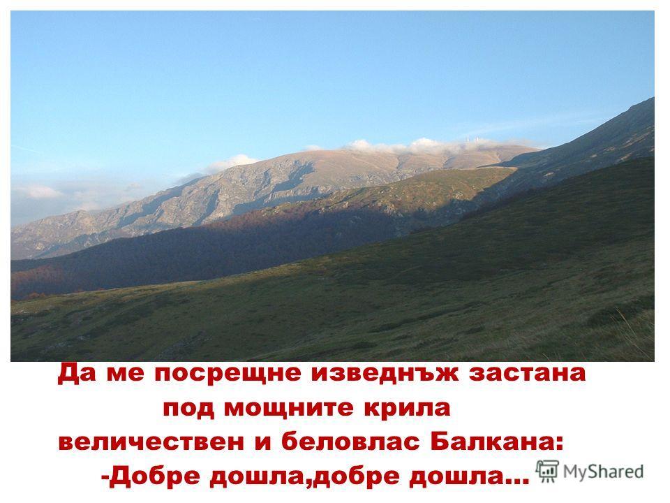 Да ме посрещне изведнъж застана под мощните крила величествен и беловлас Балкана: -Добре дошла,добре дошла…