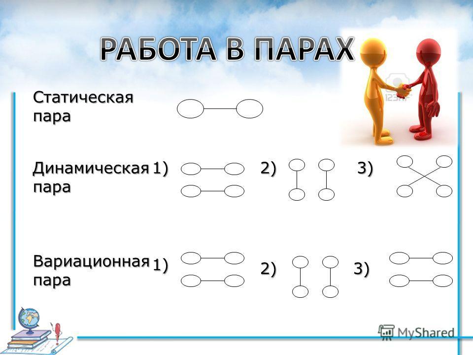 Динамическая пара 3)2)1) Вариационнаяпара1) 2)3) Статическаяпара