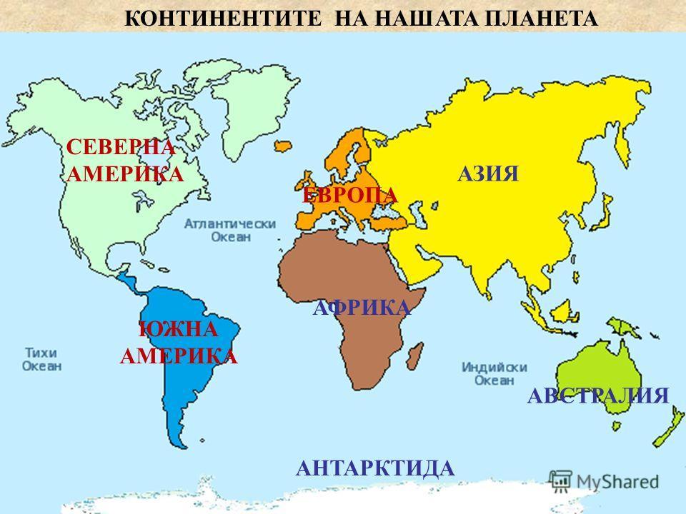 север запад изток юг Сушата е разделена на континенти и острови. Нашият материк се нарича Европа. Заема шесто място по големина и второ място по брой на населението.