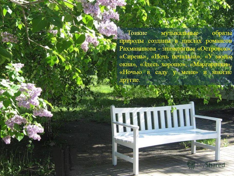 Тонкие музыкальные образы природы созданы в циклах романсов Рахманинова - знаменитые «Островок», «Сирень», «Ночь печальна», «У моего окна», «Здесь хорошо», «Маргаритки», «Ночью в саду у меня» и многие другие.