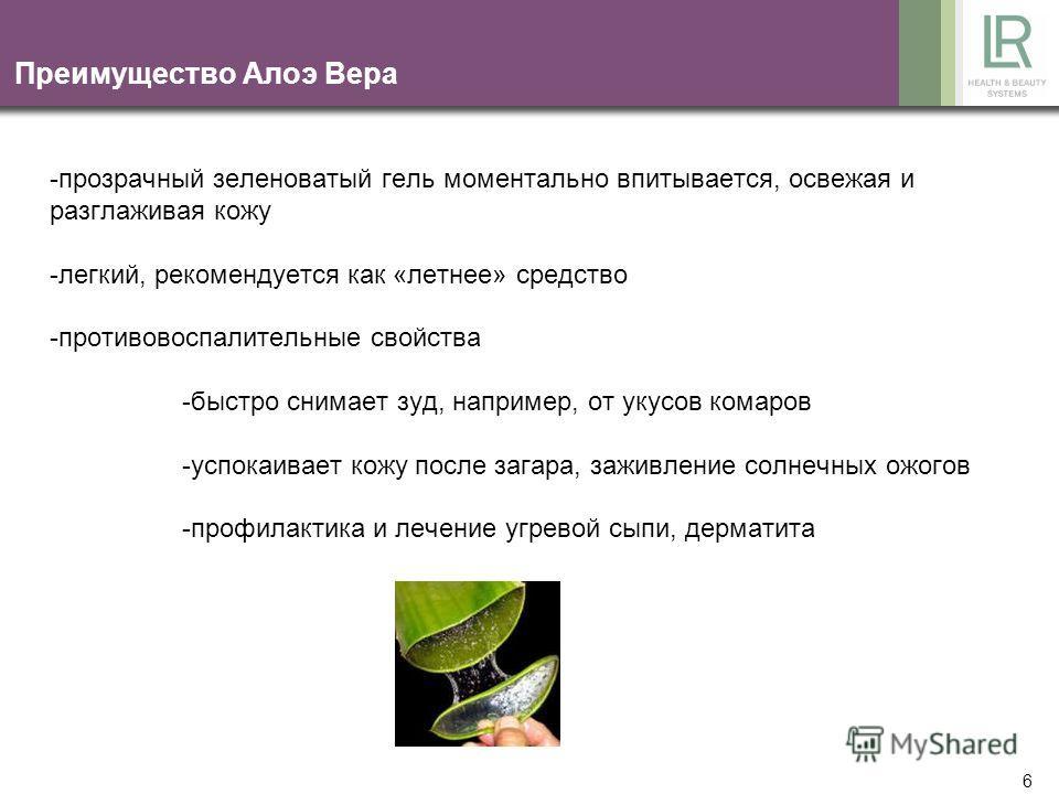 5 Действующие вещества Алоэ Вера - полисахариды -увлажняющее действие -стимуляция местного иммунитета -салициловая кислота -витамины А, С, Е -супероксидисмутаза -незаменимые аминокислоты