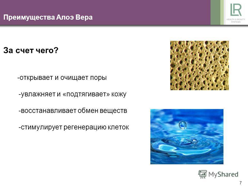 6 Преимущество Алоэ Вера -прозрачный зеленоватый гель моментально впитывается, освежая и разглаживая кожу -легкий, рекомендуется как «летнее» средство -противовоспалительные свойства -быстро снимает зуд, например, от укусов комаров -успокаивает кожу