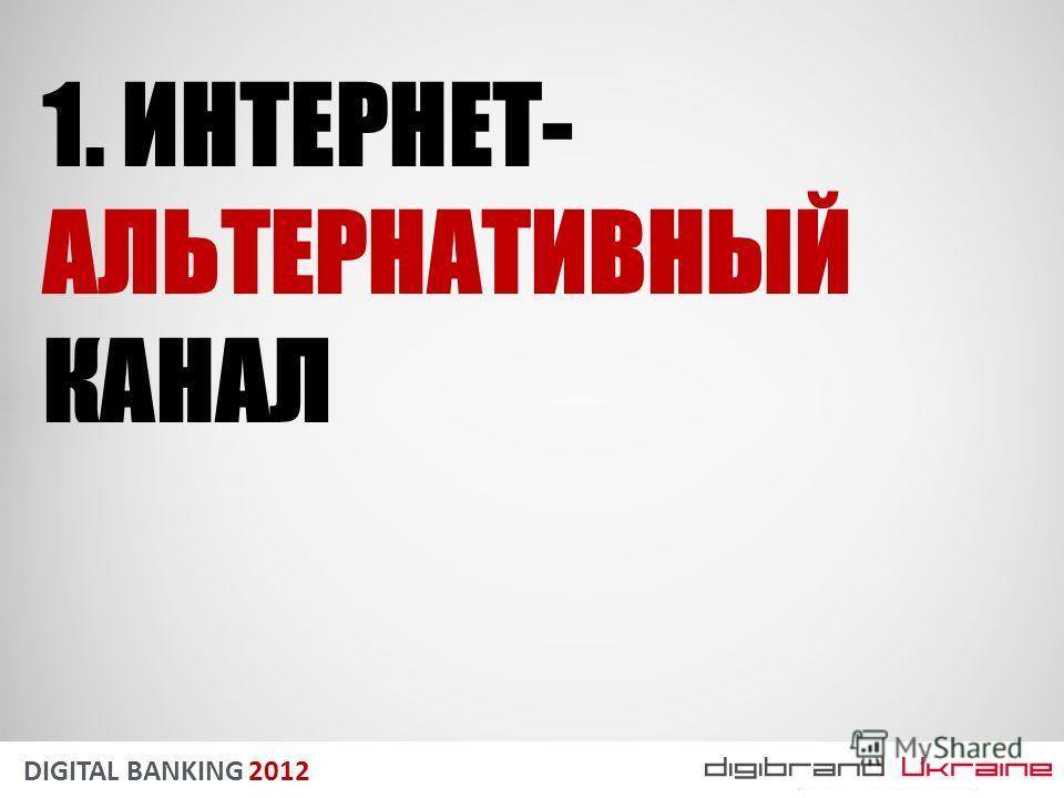 DIGITAL BANKING 2012 1. ИНТЕРНЕТ- АЛЬТЕРНАТИВНЫЙ КАНАЛ