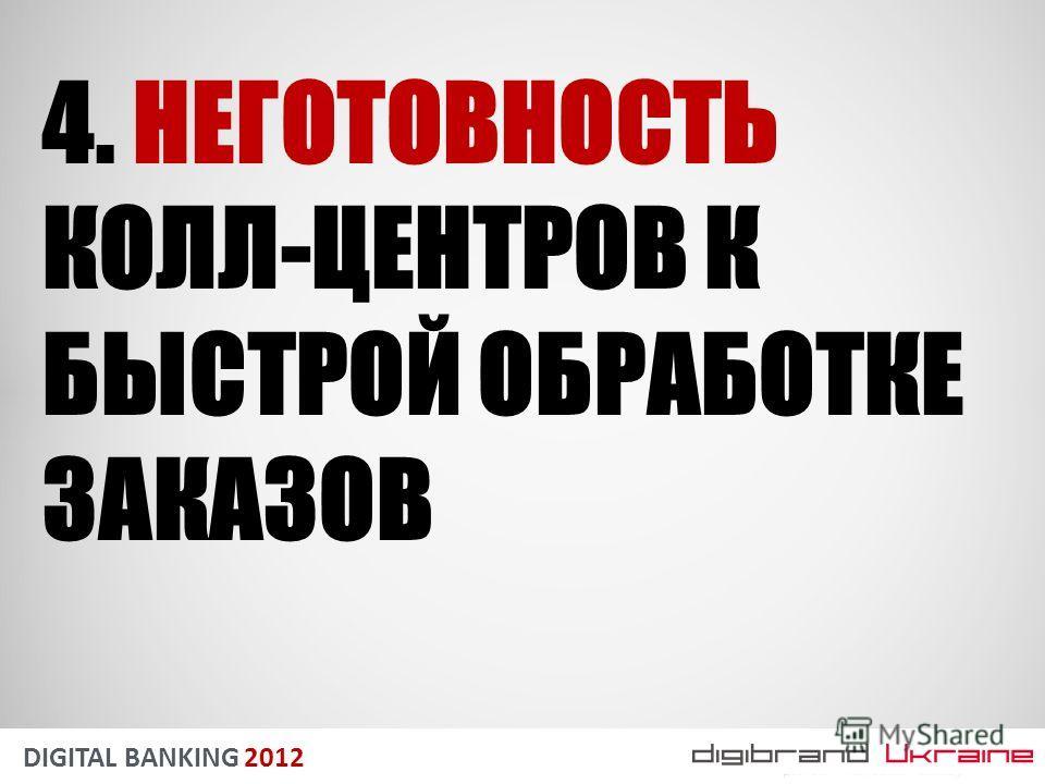 DIGITAL BANKING 2012 4. НЕГОТОВНОСТЬ КОЛЛ-ЦЕНТРОВ К БЫСТРОЙ ОБРАБОТКЕ ЗАКАЗОВ