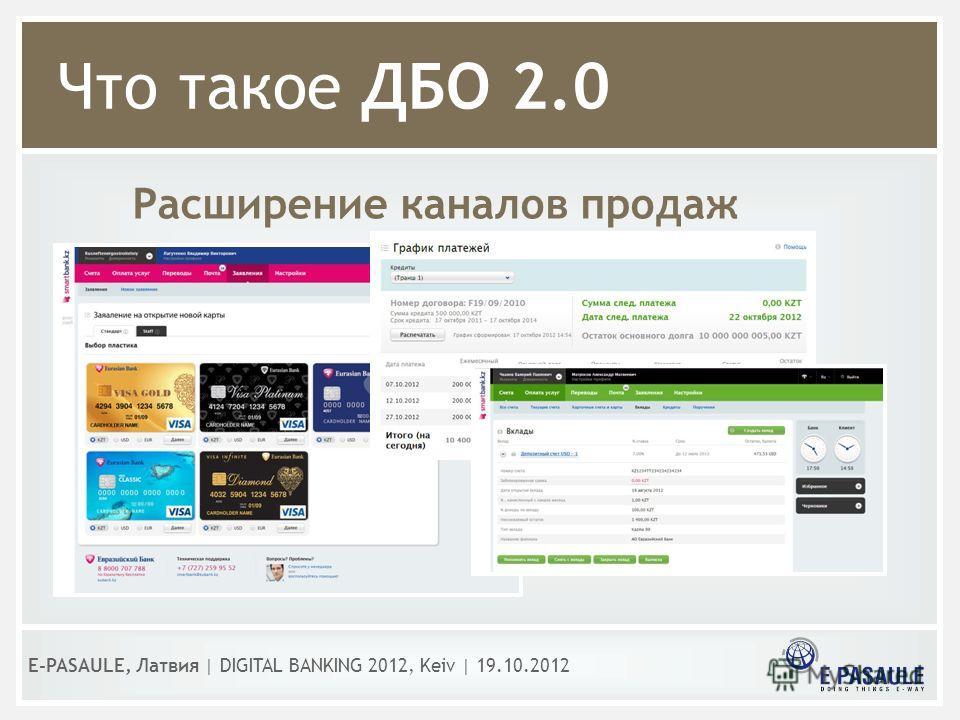 Что такое ДБО 2.0 Расширение каналов продаж E-PASAULE, Латвия   DIGITAL BANKING 2012, Kеiv   19.10.2012