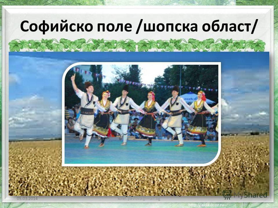 Софийско поле /шопска област/ Шопската област е разположена в Югозападна България. Обхваща на изток – Ихтиманските възвишения, на запад спира до държавната граница, на север - Стара планина и на юг до Осоговската планина и Рила. Основният поминък на