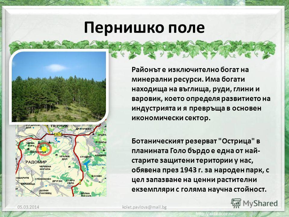 Пернишко поле Районът е изключително богат на минерални ресурси. Има богати находища на въглища, руди, глини и варовик, което определя развитието на индустрията и я превръща в основен икономически сектор. Ботаническият резерват