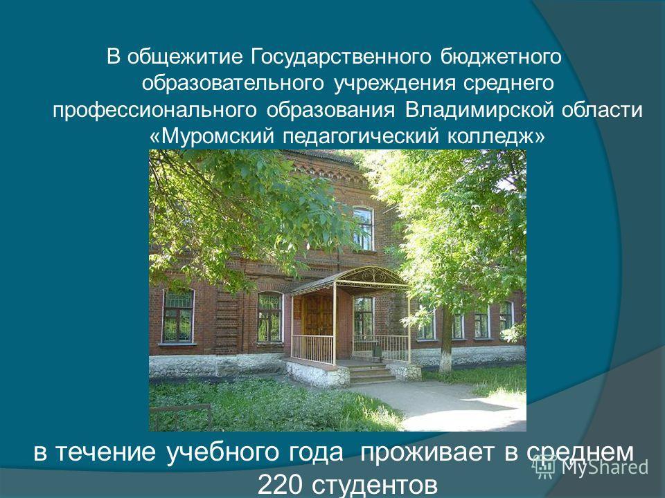 В общежитие Государственного бюджетного образовательного учреждения среднего профессионального образования Владимирской области «Муромский педагогический колледж» в течение учебного года проживает в среднем 220 студентов