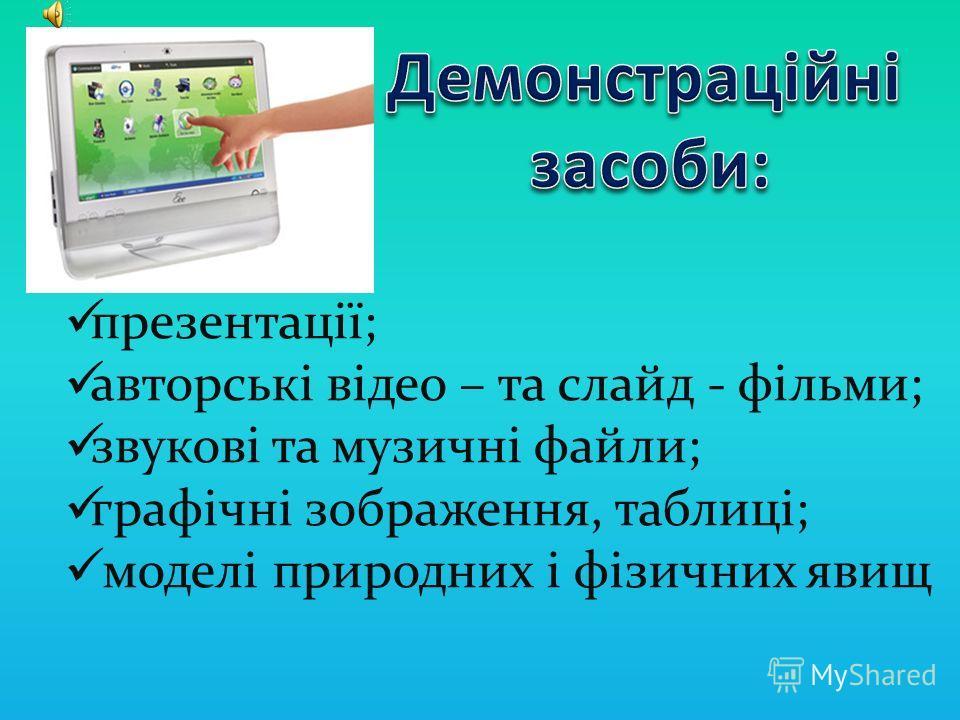 Напрямки застосування ІКТ: застосування демонстраційних засобів; використання програмових засобів; система застосування Інтернет – ресурсів