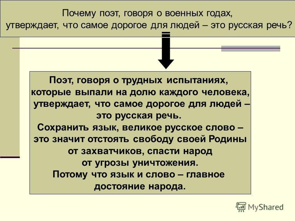 Почему поэт, говоря о военных годах, утверждает, что самое дорогое для людей – это русская речь? Поэт, говоря о трудных испытаниях, которые выпали на долю каждого человека, утверждает, что самое дорогое для людей – это русская речь. Сохранить язык, в