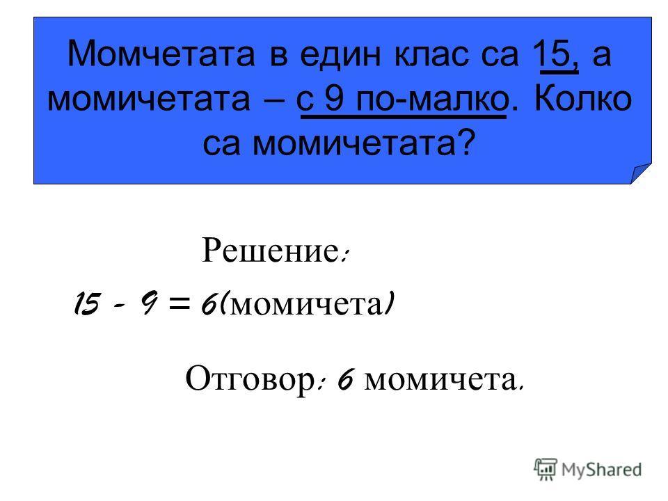Момчетата в един клас са 15, а момичетата – с 9 по-малко. Колко са момичетата? Решение : 15 - 9 = 6( момичета ) Отговор : 6 момичета.
