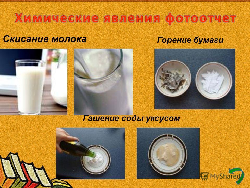 Скисание молока Горение бумаги Гашение соды уксусом