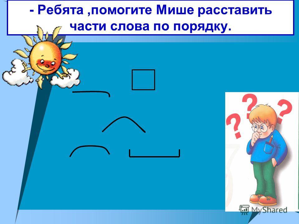 Тема урока «Части слова» Знать состав слова; определения частей слова. Уметь выделять части слова. Молодцы!