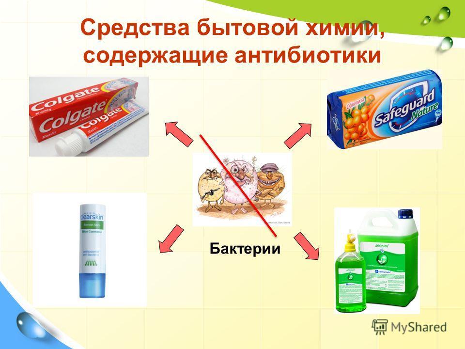 Средства бытовой химии, содержащие антибиотики Бактерии