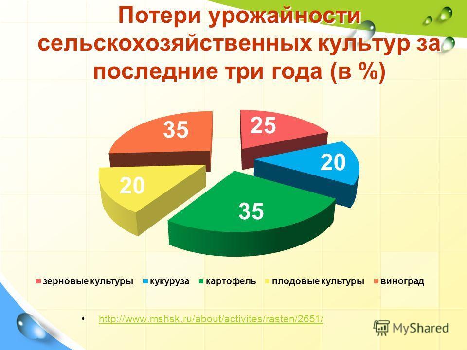 Потери урожайности сельскохозяйственных культур за последние три года (в %) http://www.mshsk.ru/about/activites/rasten/2651/