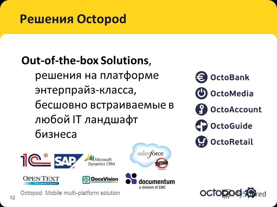 Octopod. Mobile multi-platform solution Решения Octopod 12 Out-of-the-box Solutions, решения на платформе энтерпрайз-класса, бесшовно встраиваемые в любой IT ландшафт бизнеса