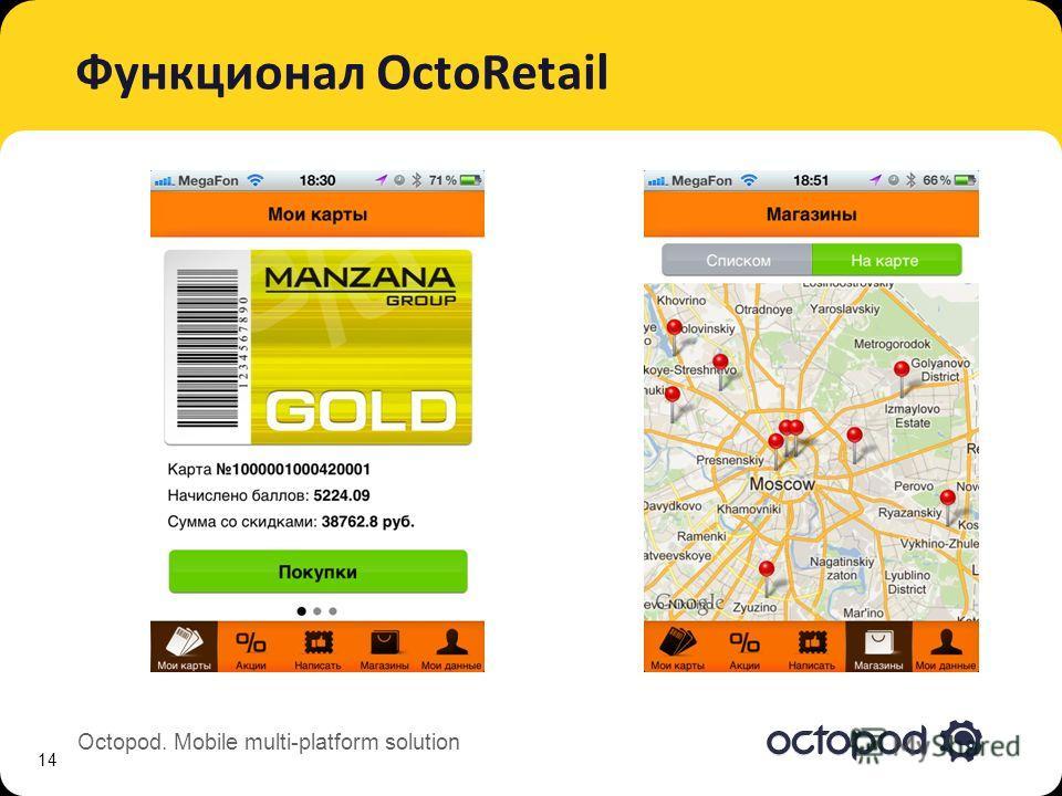 Octopod. Mobile multi-platform solution Функционал OctoRetail 14