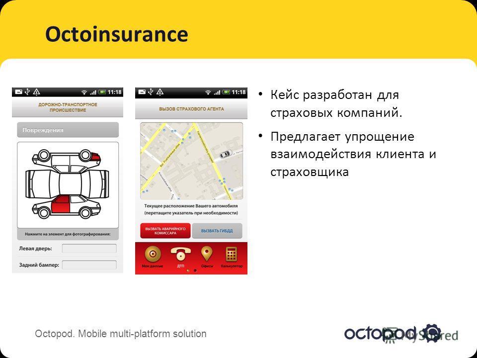 Octopod. Mobile multi-platform solution Octoinsurance Кейс разработан для страховых компаний. Предлагает упрощение взаимодействия клиента и страховщика