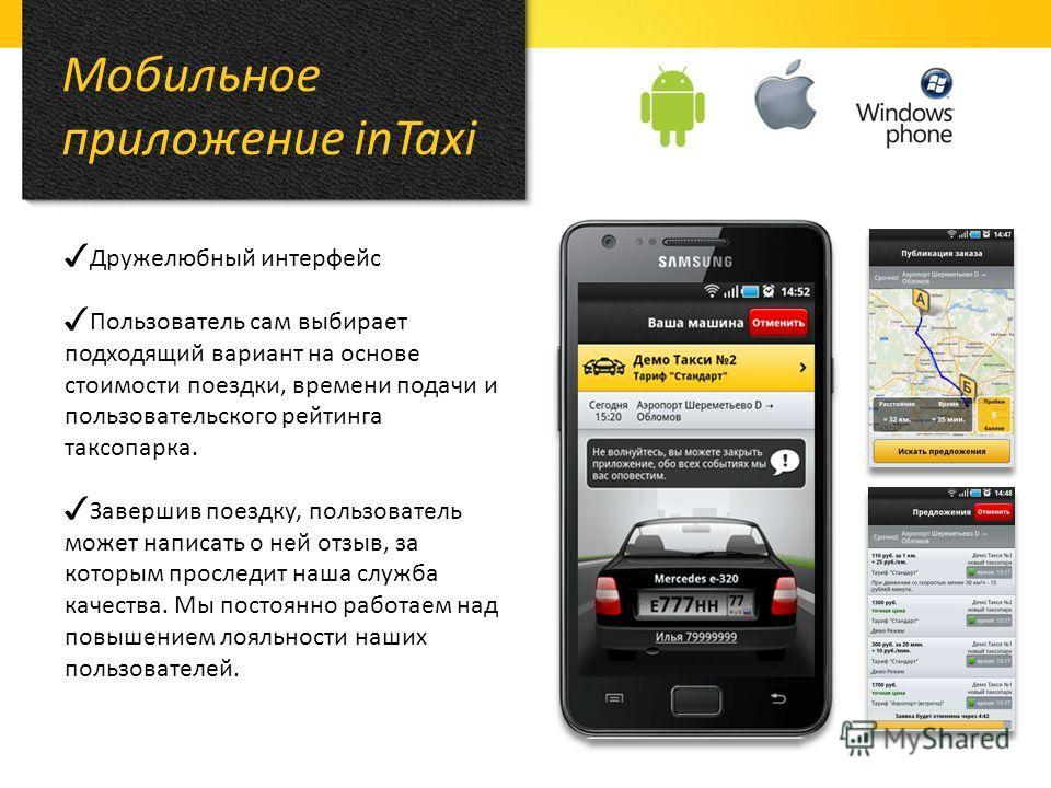 Мобильное приложение inTaxi Дружелюбный интерфейс Пользователь сам выбирает подходящий вариант на основе стоимости поездки, времени подачи и пользовательского рейтинга таксопарка. Завершив поездку, пользователь может написать о ней отзыв, за которым