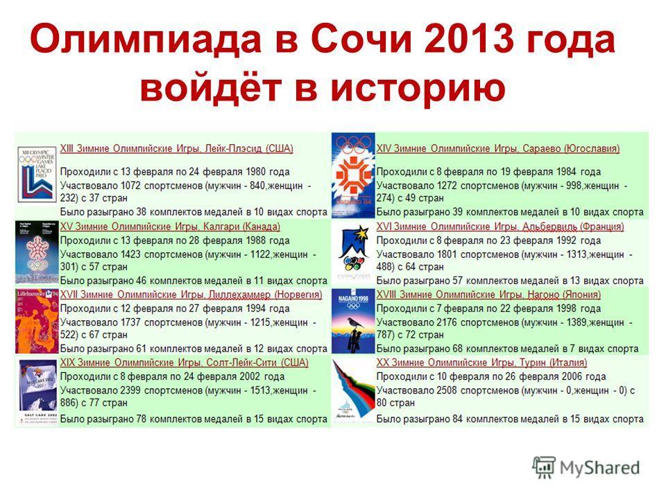 Олимпиада в Сочи 2013 года войдёт в историю