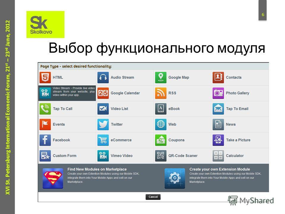 5 XVI St. Petersburg International Economic Forum, 21 st – 23 rd June, 2012 Создание приложения за минуты