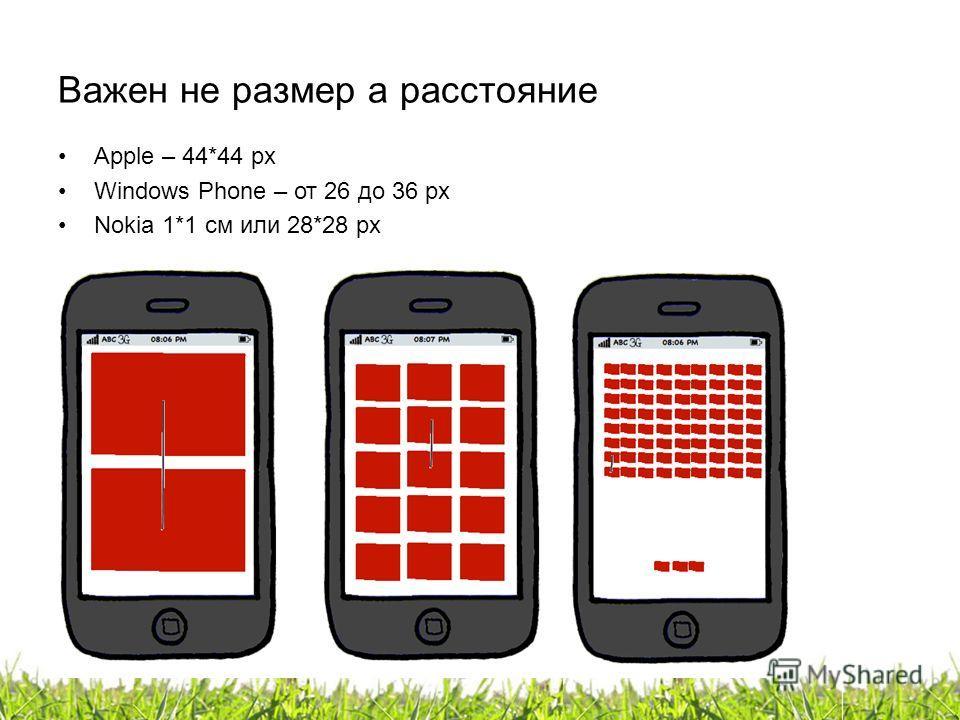 Важен не размер а расстояние Apple – 44*44 px Windows Phone – от 26 до 36 px Nokia 1*1 см или 28*28 px