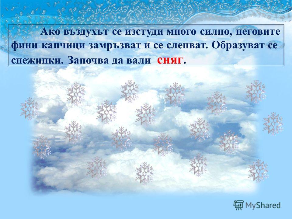 Ако въздухът се изстуди много силно, неговите фини капчици замръзват и се слепват. Образуват се снежинки. Започва да вали сняг.