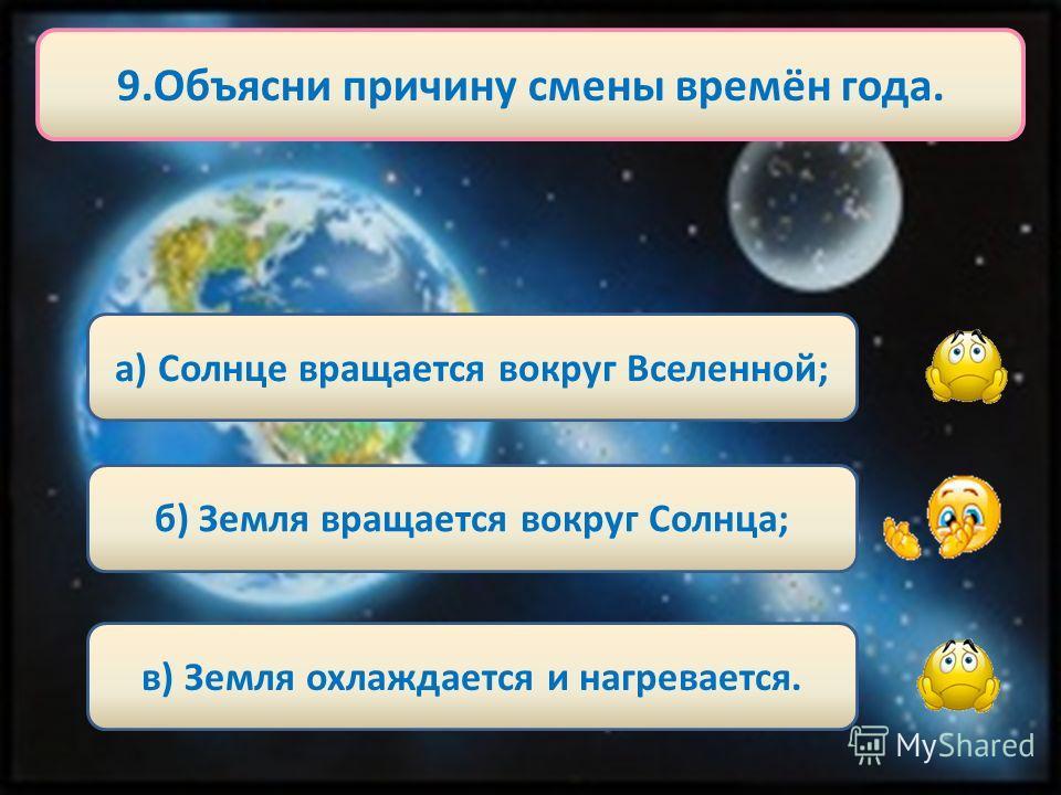 8. Земная ось нашей планеты расположена к Солнцу… а) прямо; б) под углом; в) не знаю.