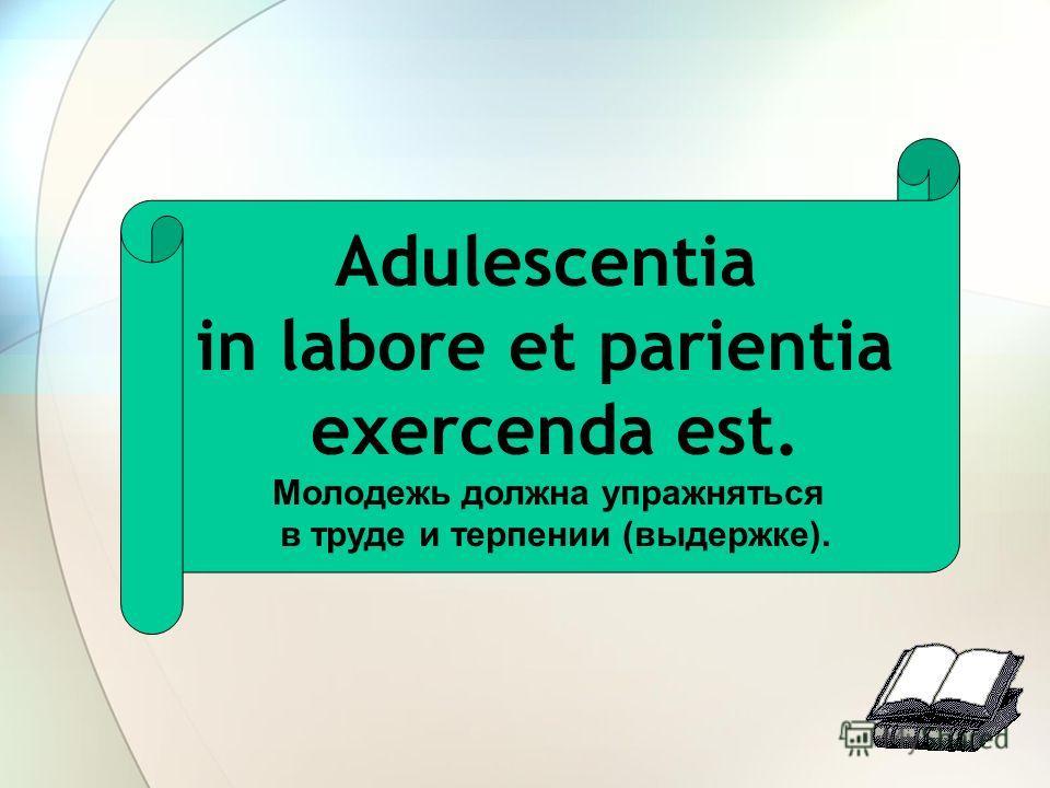 Adulescentia in labore et parientia exercenda est. Молодежь должна упражняться в труде и терпении (выдержке).