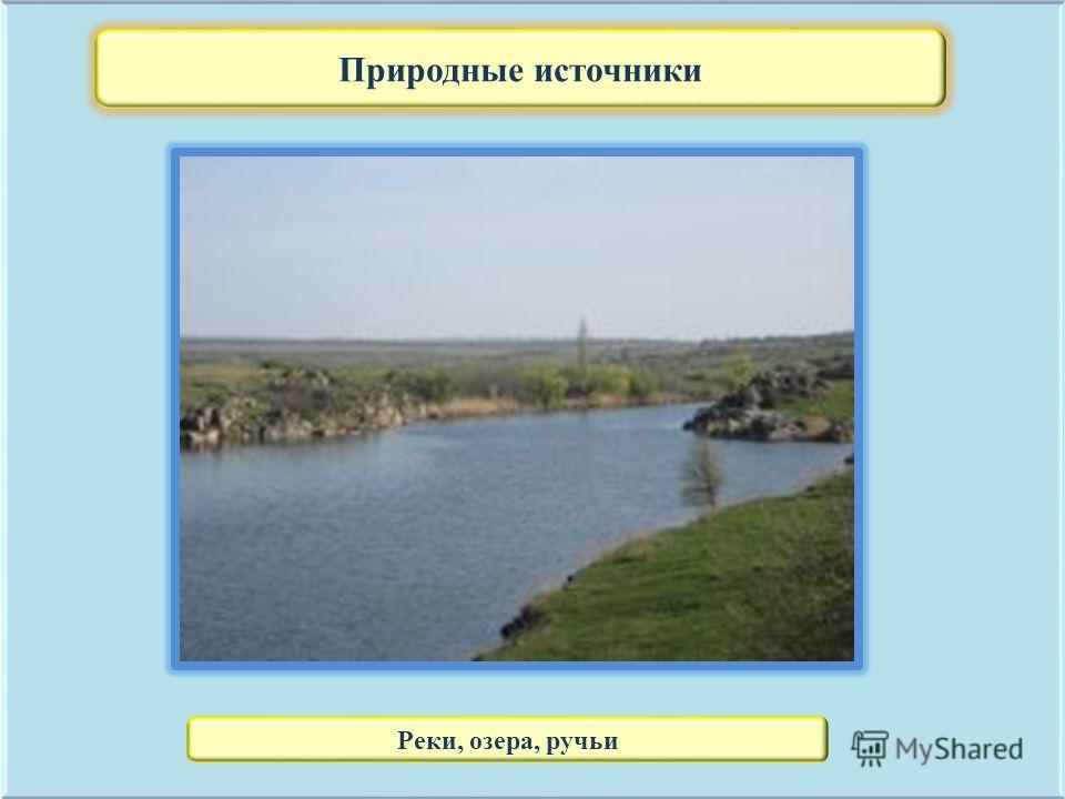 Природные источники Реки, озера, ручьи