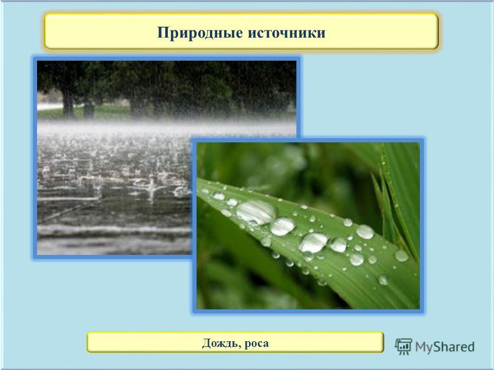 Природные источники Дождь, роса