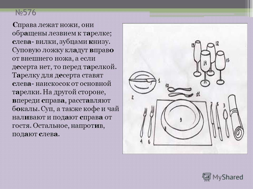 576 Справа лежат ножи, они обращены лезвием к тарелке; слева- вилки, зубцами книзу. Суповую ложку кладут вправо от внешнего ножа, а если десерта нет, то перед тарелкой. Тарелку для десерта ставят слева- наискосок от основной тарелки. На другой сторон