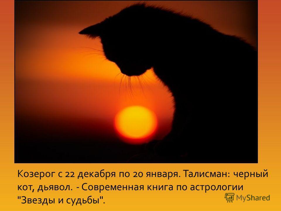 Козерог с 22 декабря по 20 января. Талисман: черный кот, дьявол. - Современная книга по астрологии Звезды и судьбы.