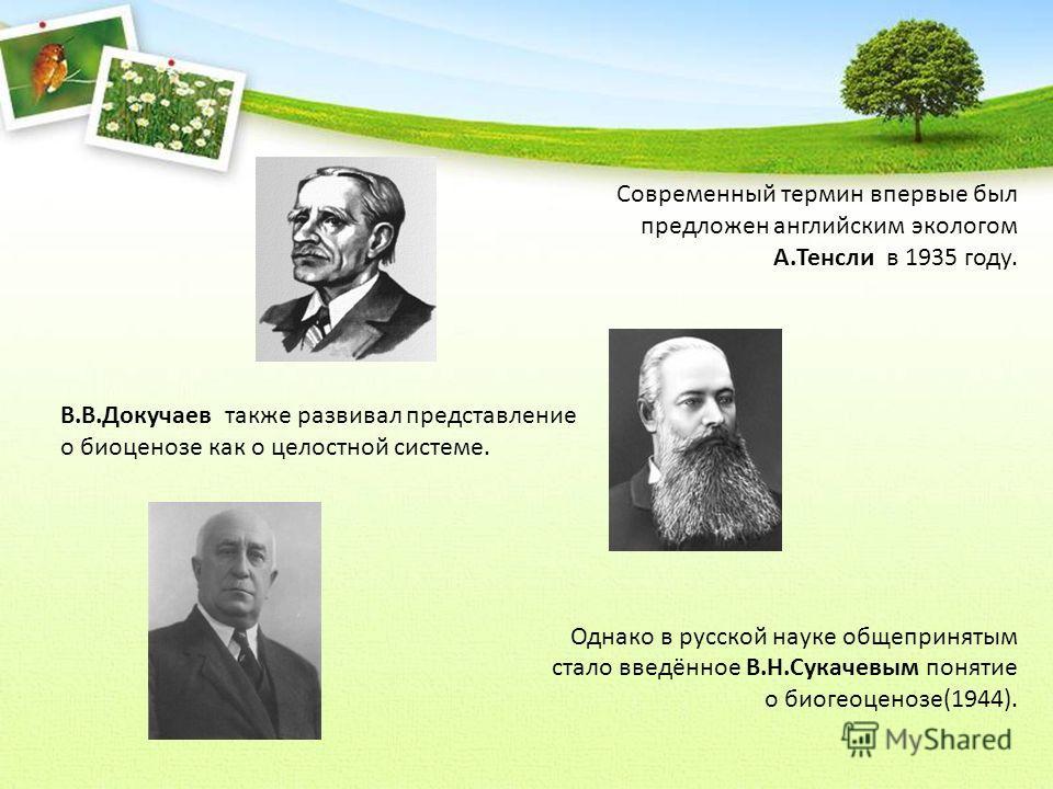 Современный термин впервые был предложен английским экологом А.Тенсли в 1935 году. В.В.Докучаев также развивал представление о биоценозе как о целостной системе. Однако в русской науке общепринятым стало введённое В.Н.Сукачевым понятие о биогеоценозе
