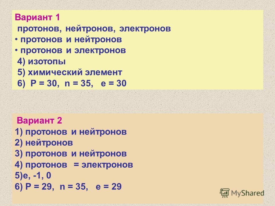 Вариант 1 протонов, нейтронов, электронов протонов и нейтронов протонов и электронов 4) изотопы 5) химический элемент 6) P = 30, n = 35, e = 30 Вариант 2 1) протонов и нейтронов 2) нейтронов 3) протонов и нейтронов 4) протонов = электронов 5)е, -1, 0