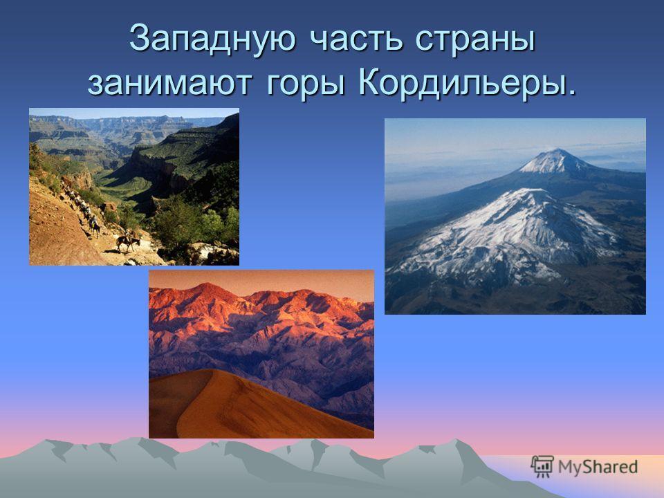 Западную часть страны занимают горы Кордильеры.